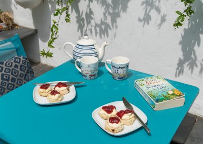 Cream teas and reading in the sun on the patio